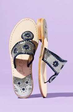 Jack Rogers Sandals - updated classic in silver + navy