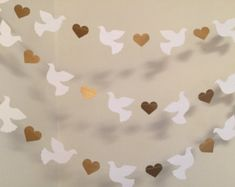 Christening Garland - Gold & White Dove Baptism decorations - Wedding Garland - Religious Baby Dedication Decor - Your Color choice from anyoccasionbanners Decoration Communion, Baptism Party Decorations, Backdrop Decorations, Heart Decorations, Valentines Day Decorations, Wedding Doves, Wedding Card, Candy Bar Wedding, Baby Baptism