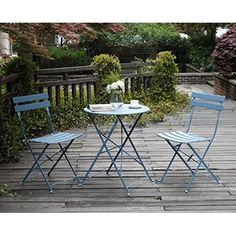 Parisian Stylish Table Chairs Sets Bistro Steel Garden Blue Coffee Time NEW   #HomeGardenTableset