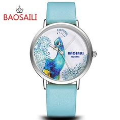 Bsl1012 Baosaili Peacock Design Silver Case Japan Pc21 Movt Water Resistant Life Watches With High Quality Pu Leather Trendy Watches Affordable Watches From Ljx008, $11.65| Dhgate.Com