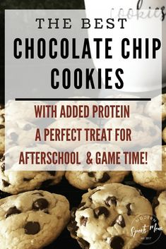 The Best Chocolate Chip Cookie recipe! These easy to make, chewy and all-around delicious cookies have a healthy protein twist. They are perfect for after school, or before your kid's games! #chocolatechipcookies #recipe #healthycookies #healthysnacks #proteincookies #cookierecipe #youthsports #sportsmom #pregamesnacks