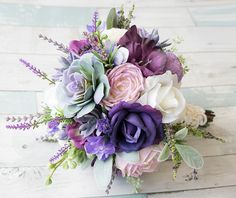 Lush Plum Purple Lilac Wedding Succulent Anemones and by Wedideas