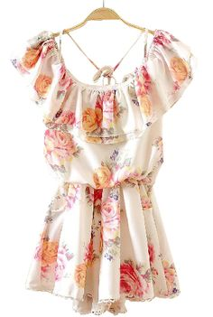 White Off the Shoulder Ruffles Floral Chiffon Dress