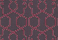 Augustus Damson (W0010/01) - Clarke & Clarke Wallpapers - A stunning geometric design with modern colouring. Showing in pink on deep purple with a metallic gold outlining. Other colour ways available. Please request a sample for true colour match. Paste-the-wall product.