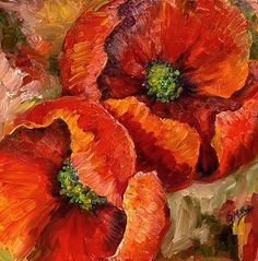 poppies impressionist paintings | Accent on Poppies-SOLD - by Diane Millsap from Abstract