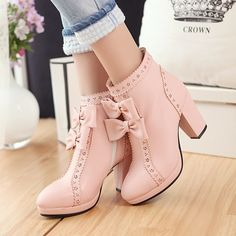 (41.27$)  Buy here - http://ai8kn.worlditems.win/all/product.php?id=32799493528 - Japanese Style Ladies PU Leather Bow Boots Thick High Heel Lolita Boots New 2017 Royal Style Hollowed Pattern Free Shipping