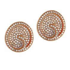 Dizeo 18 Karat Rose Gold over Sterling Silver with Simulated White Diamond Round Swirl Earrings #rosegold #gold #diamonds #diamondearrings #jewelry #earrings