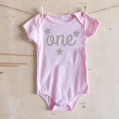 Pink One Onesie Silver glitter Stars first by HoneyduClothing