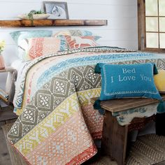 #beddinginspiration #bedroomdecor #westernhome #westernhomeinspiration #westernhomeinspo #southwesternstyle #southwesternlifestyle #southwesternliving #westernhome #westernlifestyle #homedecorideas #bedroomdecor #bedroomdecorinspiration #beddinginspo Western Bedding, Bedding Inspiration, Yellow Pillows, Farmhouse Master Bedroom, Shades Of Turquoise, Western Homes, Twin Quilt, Zig Zag Pattern, Queen Quilt