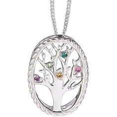 Personalized Sterling Silver Family Birthstone Tree Necklace