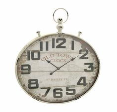 Vintage Styled Metal Wood Wall Clock by Woodland Import