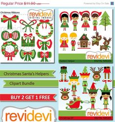 55 OFF Christmas Santa and Helpers MGB007.. Instant by revidevi, $5.36
