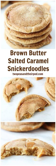 Brown Butter Salted Caramel Snickerdoodles Recipe on twopeasandtheirpo... The BEST snickerdoodle recipe! Everyone LOVES these cookies!