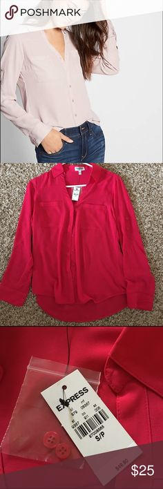 Express Portofino Shirt-Small NWT Small berry colored Express convertible Portofino shirt. The shirt has tags and extra buttons still attached and never worn! The perfect shirt for a business casual attire or to dress down for a casual weekend!  Express Tops Blouses