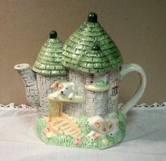 Vintage Ceramic Castle Teapot
