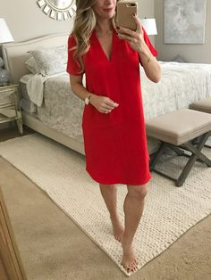 Dressing Room - Cyber Monday Edition | Honey We're Home #cybermonday red shirt dress under $50