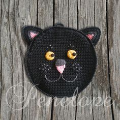 Black Cat crochet  cat pot holder personalised by deepblue22at