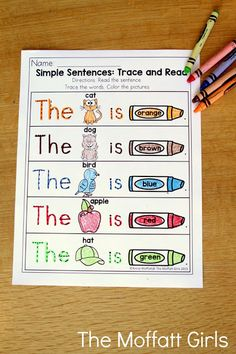 Simple Sentences that work with sight words and color words! TONS of great printables!