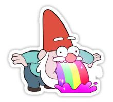 Rainbow Vomiting Gnome Pegatina