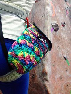 RAINBOW Handmade Chalk Bag // Crochet Rock Climbing Chalk Bag, Rock Climbing Gear, Cotton, Fleece & Nylon w/ smartphone or iphone pocket $48.50 by RubyandJuniper