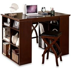 Verona Home Solid Wood 3-Piece Desk and Dining Set ($669) ❤ liked on Polyvore featuring home, furniture, cabinet, book shelves, storage shelves, 3 tier shelves, book-shelf and wooden book shelves