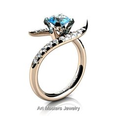 Gorgeous 14K Rose Gold 1.0 Ct Paradise Blue Topaz by artmasters