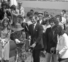 The Kennedy family breaks ground for the JFK Presidential Library and Museum in 1977.