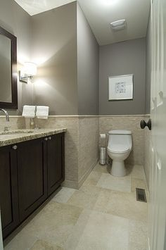 Gray Bathroom. like the wall tile and wall color