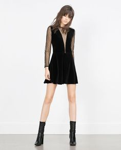 VELVET PLUMETIS DRESS-View all-Dresses-WOMAN | ZARA United States