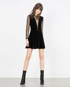 VELVET PLUMETIS DRESS-View all-Dresses-WOMAN | ZARA United States