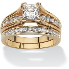 Palm Beach Jewelry PalmBeach 1.88 TCW Princess-Cut Cubic Zirconia 14k... ($47) ❤ liked on Polyvore featuring jewelry, rings, yellow, cubic zirconia rings, princess cut cubic zirconia ring, long rings, bridal rings and cz rings