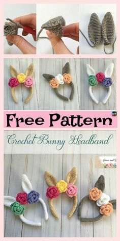 Beautiful Crochet Bunny Headband – Free Pattern Upcycle a Pair of Old Hoop Earrings into Beautiful Crochet Earrings with this DIY Free Pattern Crochet Bunny, Crochet For Kids, Free Crochet, Easter Crochet Patterns, Knit Patterns, Crochet Flowers, Diy Crochet Headband, Crochet Gifts, Knitted Headband Free Pattern
