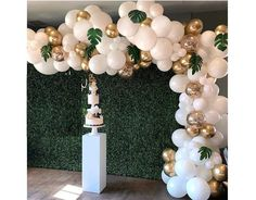 Balloon Garland Arch Kit, White Gold Confetti Balloons 101 PCS, Artificial Palm Leaves 6 PCS, Balloons for Parties, Party Wedding Birthday Balloons Decorations Jungle Balloons, Baby Shower Balloons, Baby Balloon, Baby Shower Backdrop, Balloon Pump, Animal Balloons, Balloon Wall, The Balloon, Baby Shower Background