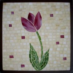 Mosaico Cuadro Flor Rosa Mosaic Tile Art, Mosaic Artwork, Stone Mosaic, Mosaic Glass, Glass Art, Mosaic Art Projects, Mosaic Crafts, Mosaic Windows, Mosaic Flower Pots