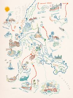 Sketch for a map of Southern Thailand for Oriental Escapes - Chinapat Yeukprasert Art And Illustration, Map Illustrations, Map Sketch, Mental Map, Tourist Map, Montezuma, Map Globe, Joan Mitchell, Map Design