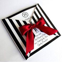 Black and White Striped Square Wrap Invitation