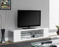 Amazon.com - Monarch Specialties High Glossy White TV Console with Tempered Glass, 60-Inch -