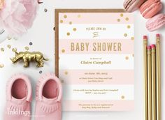 Printable Baby Shower Invitation  // Pink by InklingsPaperie
