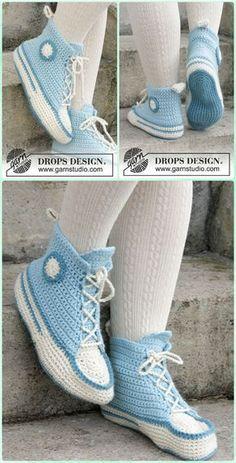 Crochet Adult Sneaker Slipper Free Pattern -  Crochet Women Slippers Free Patterns