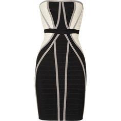 Hervé Léger Black Strapless Paneled Bandage Dress ❤ liked on Polyvore featuring dresses, bandage dress, strapless dress, herve leger dress, bandage cocktail dresses and strapless cocktail dresses