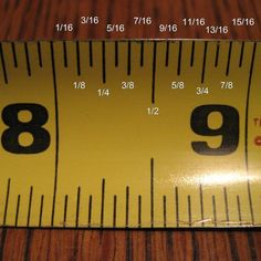 how to read a measuring tape. Its sad I really can never remember what each mark is for! :)