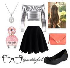 """Black and White"" by musicianfaith on Polyvore featuring Topshop, Chicwish, Melissa and Marc Jacobs"