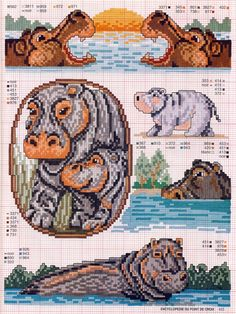 I want to make a bookmark out of the top two hippos.