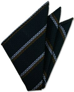 Powder Blue & Brown Stripes On Midnight Blue Grenadine Grossa Silk Pocket Square # 3