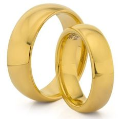 His  Her's 8MM/6MM Tungsten Carbide Classic Polished Gold Wedding Band Ring Set (Available Sizes 4-14 Including Half Sizes)