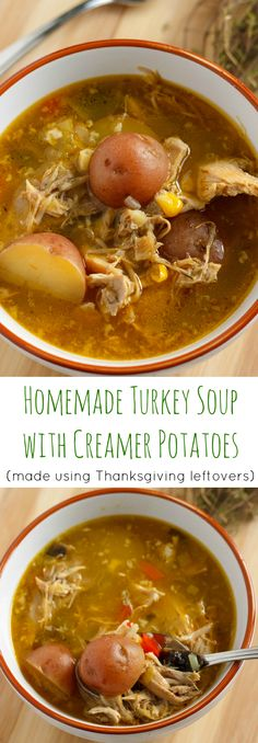 Homemade Turkey Soup with Creamer Potatoes | #soup #leftovers #thanksgiving #christmas #turkey #healthy | http://thecookiewriter.com