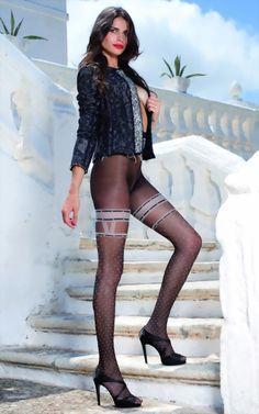 panty's met kousenmotief en puntenpatroon Anfissa van Trasparenze