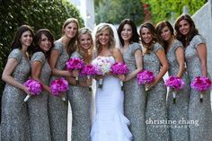 Sequined bridesmaid dresses: Can't wait to get pictures with my girls in these. In champagne of course x