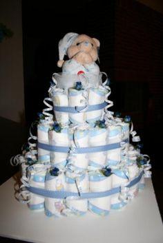 Ideas de tartas de pañales para Baby Shower de niño