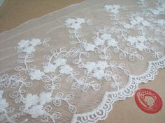 2 yards White Embroidered Lace Trim 15 cmWide by ichimylove, $5.50